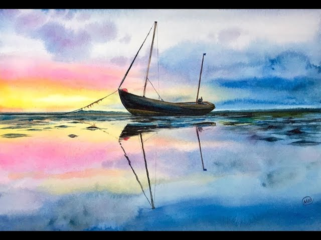 Watercolor Fisherman's Boat on a water Painting Tutorial