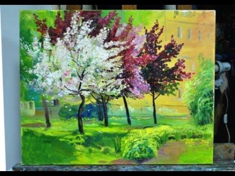 Картина маслом Цветущие яблони в Юсуповском парке. Пленэр