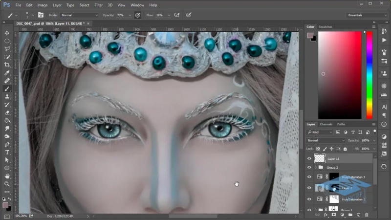 Photoshop (Фотошоп). Делаем фотоарт для зимнего портрета. Часть №2. (Марина Эл)