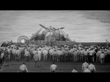US Navy TBF Avenger gunner from USS Essex  is buried at sea with his aircraft dur...HD Stock Footage