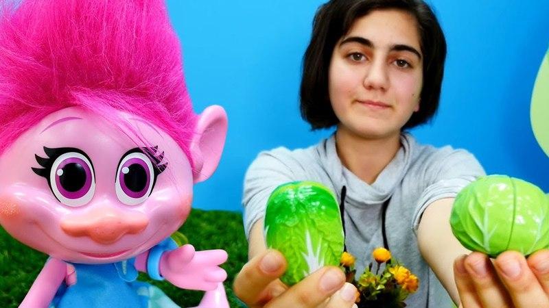 Bebek oyunları. Troll Poppy ile sebzeler toplayalım.