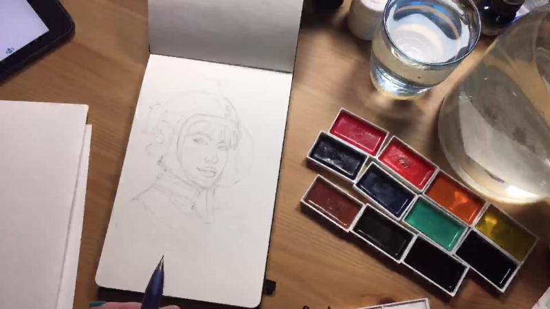 Watercolor studing watercolor aquarelle drawing sketch sketchbook cute girl characterdesign illustration retro vinta
