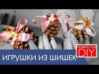 DIY новогодний декор. Как сделать елочные игрушки из ШИШЕК. Декор своими руками. Н ...