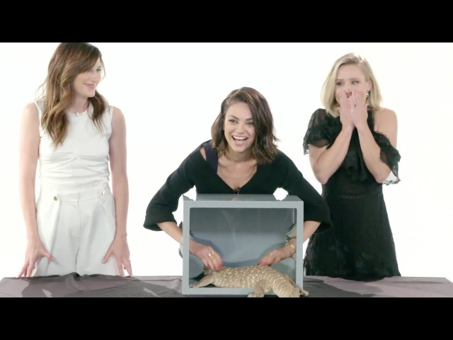Mila Kunis, Kristen Bell, and Kathryn Hahn Touch a Millipede Other Weird Stuff | Vanity Fair
