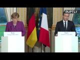 Point de presse conjoint d'Emanuel Macron et Angela Merkel à Paris