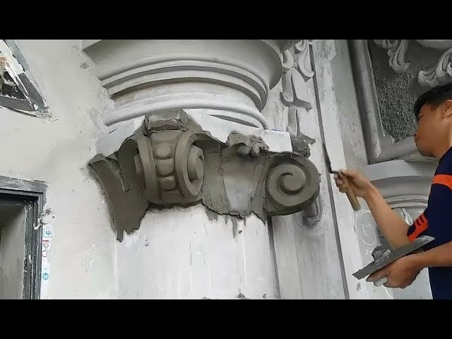 Relief Wall Sculpture Carving - Construction Art With Cement and Sand on House Wall