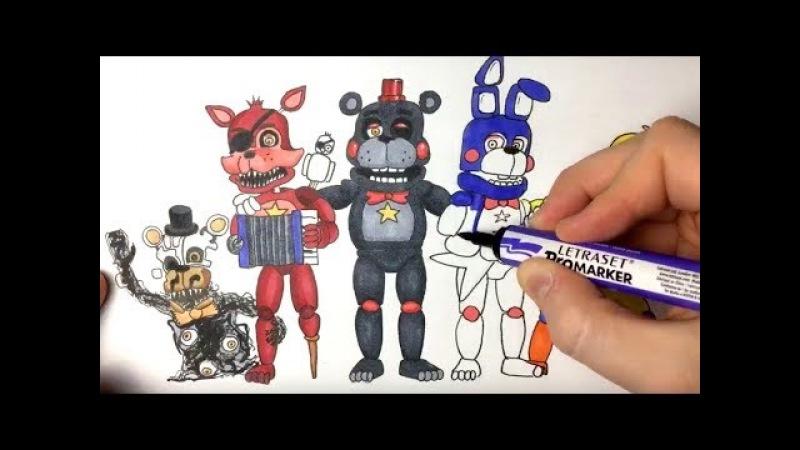 FNaF 6 (Freddy Fazbear's Pizzeria Simulator) All Animatronics Drawing - Part 1