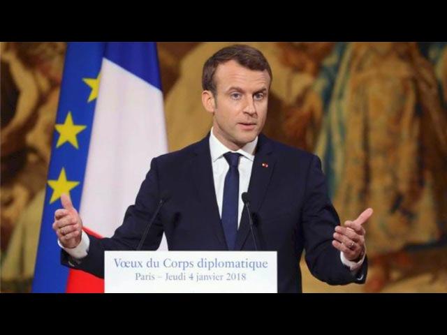 Vœux d'Emmanuel Macron au corps diplomatique après les vœux du doyen et nonce Mgr Luigi Ventura 4.01.2018