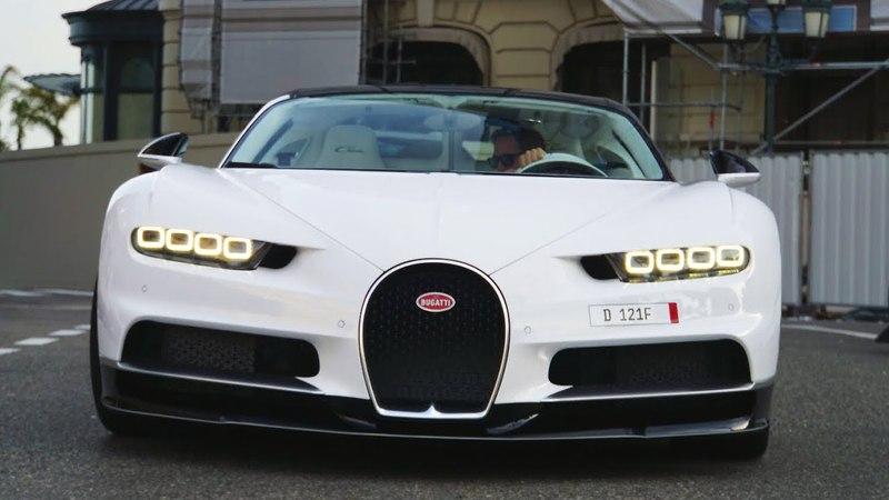 WhiteBlack Bugatti Chiron - Start up and Driving in Monaco
