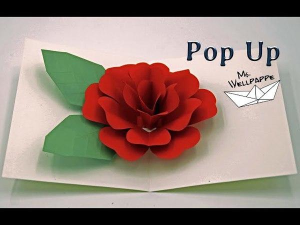 Pop Up Karte: Rose 🌹 basteln mit Papier - Muttertagsgeschenke basteln -DIY