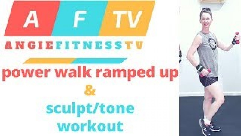 Power Walk RAMPED Up Total BODY Weights Workout| 14 Min. Mile = 2150 steps| AngieFitnessTV