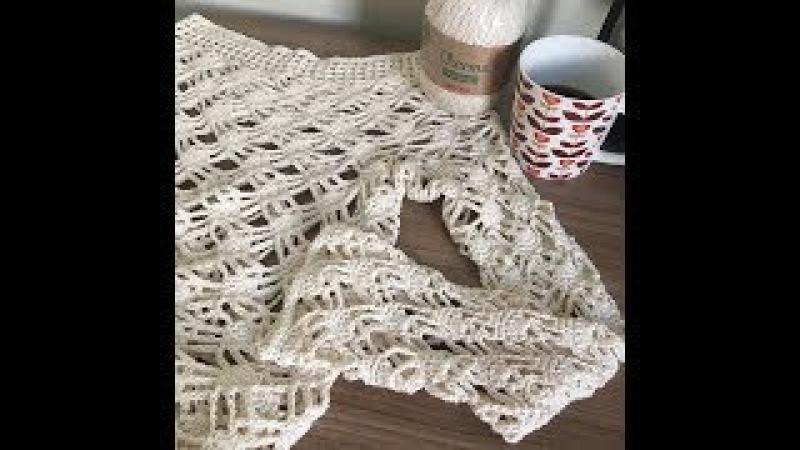Como colocar manga em vestido de crochê aula para canhoto