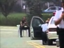 Us police shoots gun from criminals hand out out with a Sniper