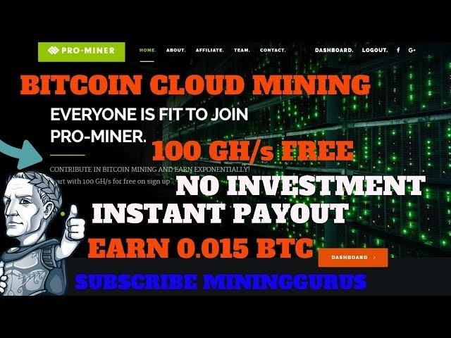 Fast Bitcoin Mining Pro-Miner Hashing Power 100.00 GH/s 0.01BTC = 10000GH/s NoInvestment MiningGurus