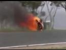 World Superbike Championship Crash (Insane) Bike Catches Fire