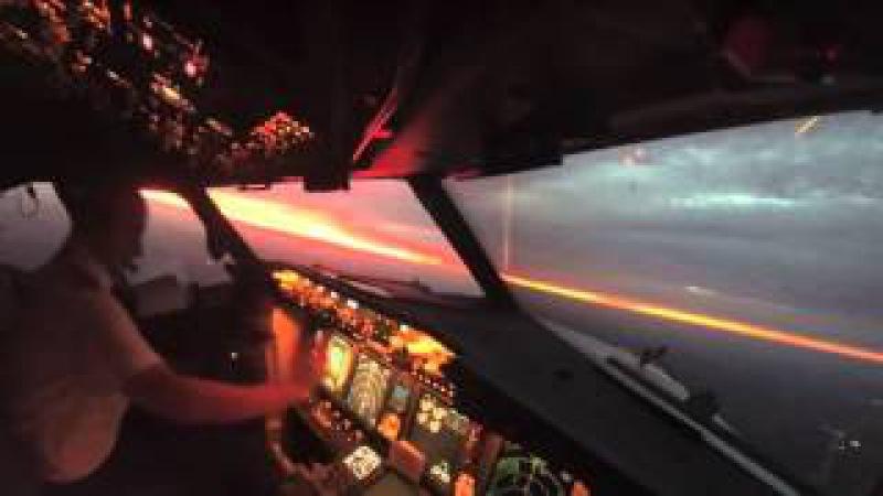 Взлет самолета Вид из кабины пилота