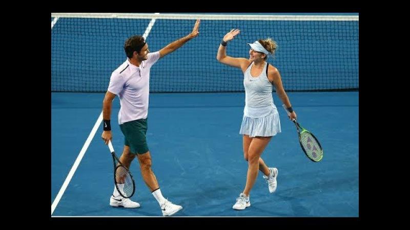 Federer/Bencic vs Sock/Vandeweghe FULL MATCH Hopman Cup Perth 2018 HD