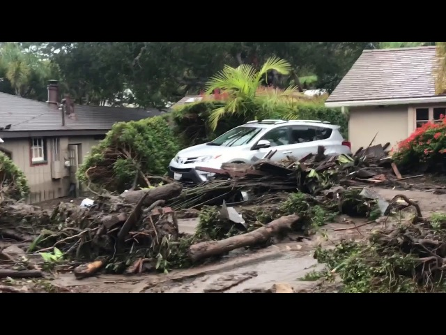 TRAGIC FOOTAGE of destruction caused by Thomas Fire Floods - Montecito