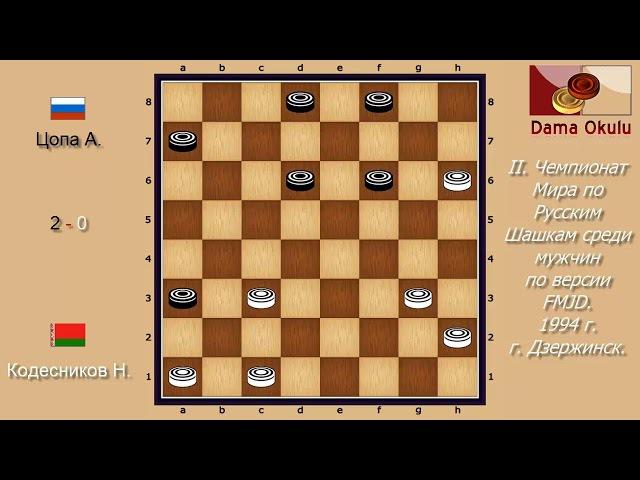 Кодесников Н. - Цопа А. II. Чемпионат Мира по Русским шашкам. 1994 г.
