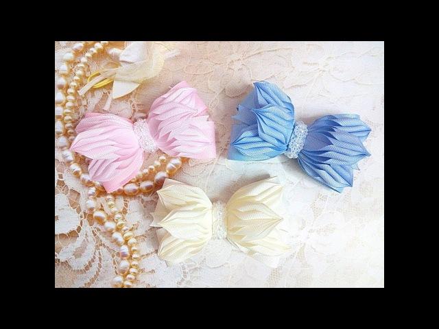 бантики резинки заколки из лент канзаши МК / hair clips ribbon kanzashi DIY