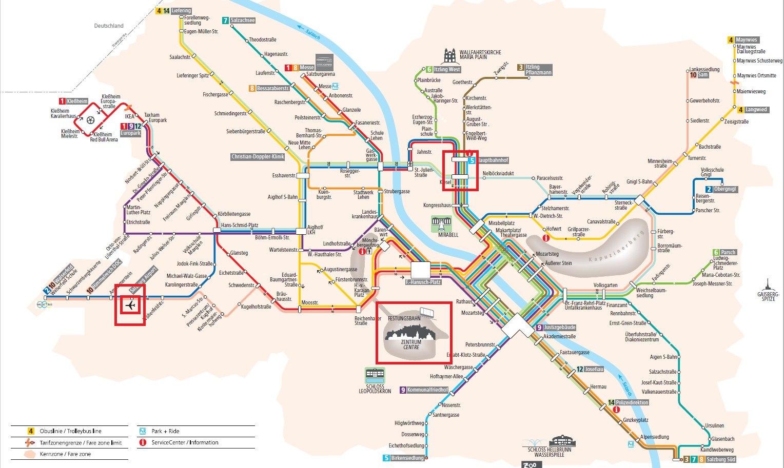 Схема троллейбусных маршрутов Зальцбурга