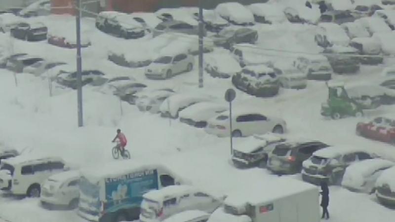 На велосипеде по Трехгорке в снегопад
