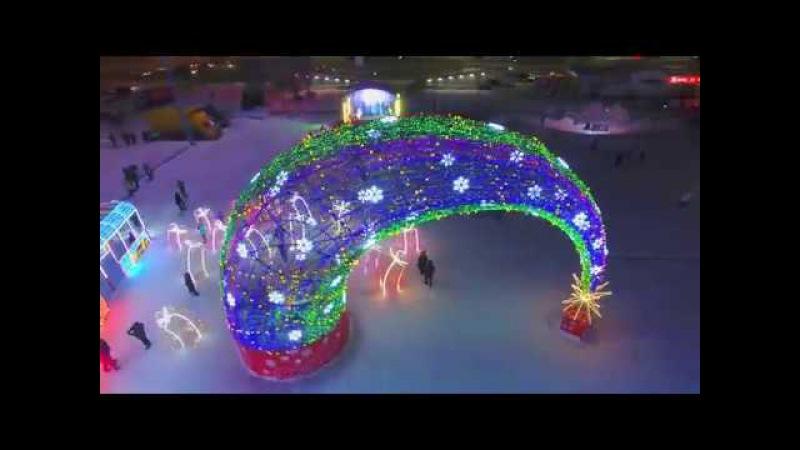 Набережные Челны Новый год 2018 площадь Азатлык аэросъемка квадрокоптер