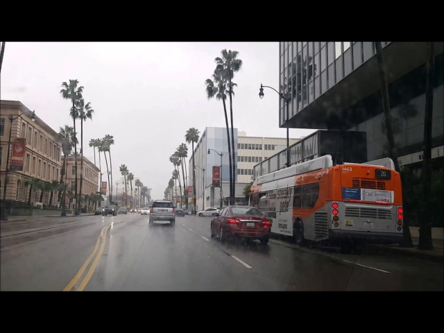 Los Angeles Driving Tour: Driving​ to Ocean on America's Richest Street: Wilshire Boulevard in Rain