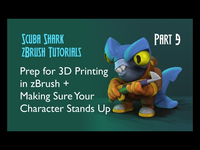 Exporting for 3D Printing in zBrush Checking Stability - Scuba Shark Tutorial PART 9