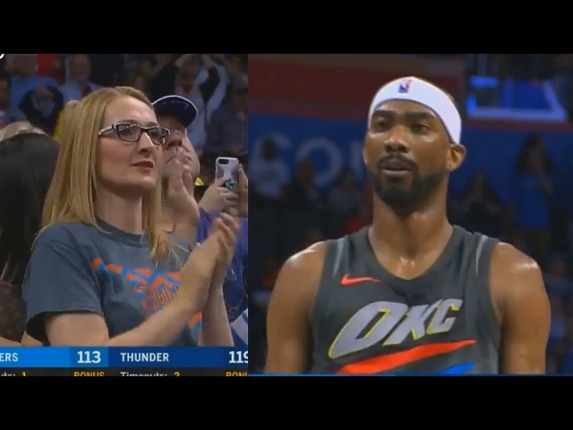 Thunder Crowd Give Corey Brewer Standing Ovation After He Gets 22 Points 6 Steals!