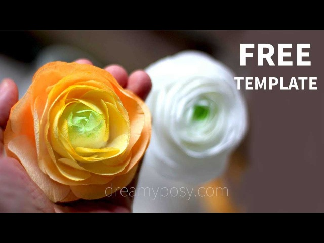 [FREE template] How to make paper Ranuculus from coffee filter