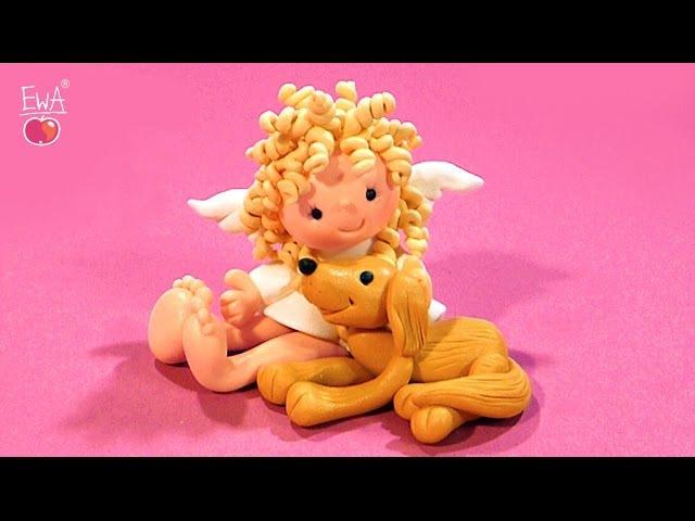 Little Angel with Friend Aniołek z Przyjacielem by Let's clay with Ewa