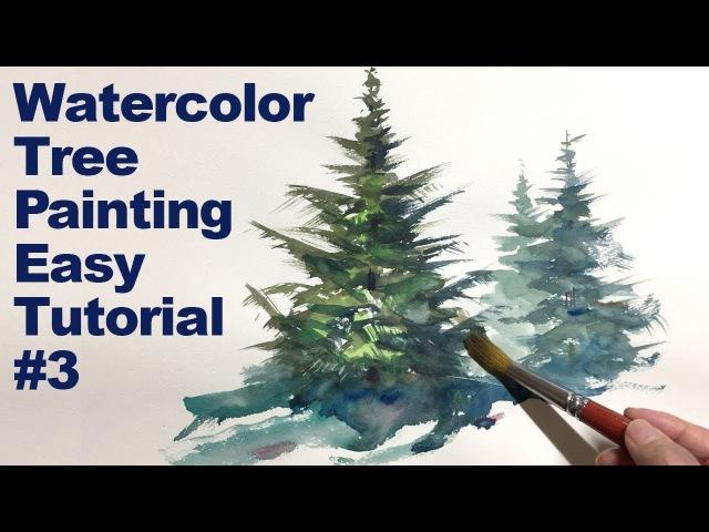 [Eng sub] Watercolor Tree Painting Easy Tutorial 3 Coniferous tree 水彩画の基本 〜もみの木を描くコツ