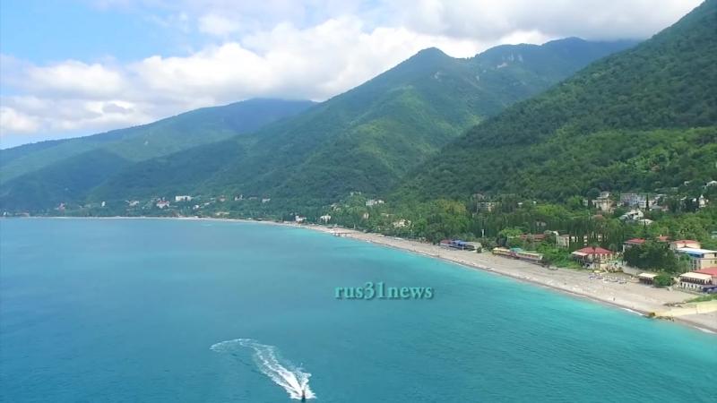 Гагра Абхазия Пляж с воздуха 2 2016