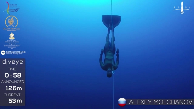Gold medal freedive with fins to 126m Alexey Molchanov AIDA WC 2017