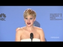 Jennifer Lawrence Charms in the Golden Globes Press Room