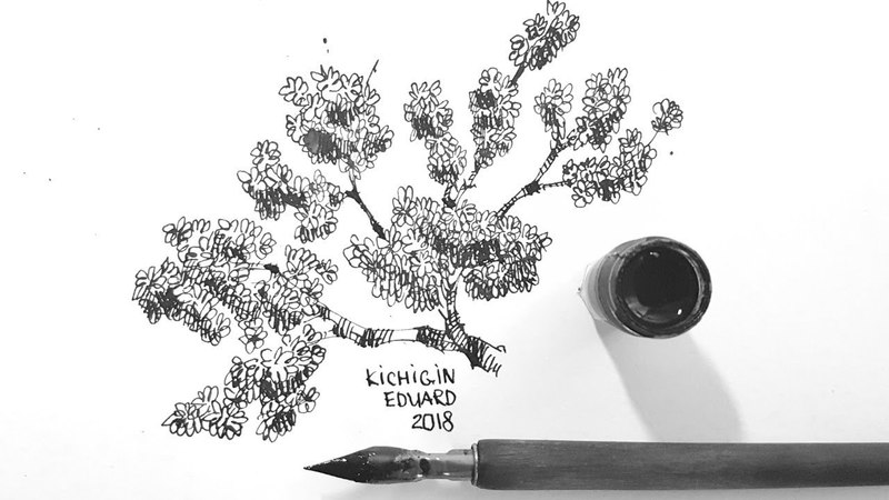Метод рисования листвы, деревьев, скетчинг пером и тушью