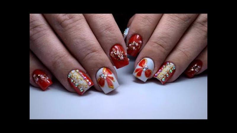 Простой Новогодний маникюр :) Зимний дизайн ногтей гель лаком в ожидании Нового ...
