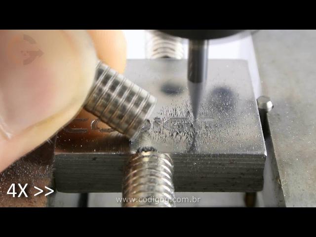 Gravação em aço usando fresa Vbit HRC55 em máquina cnc caseira