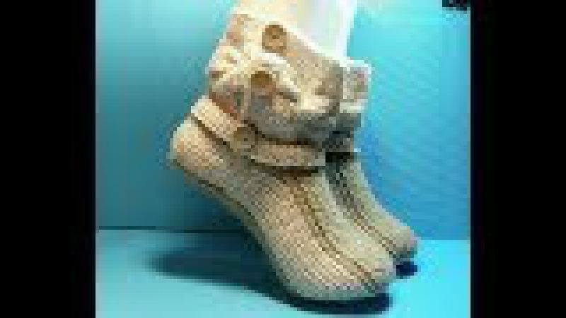 Вязание спицами домашние тапочки -сапожки202