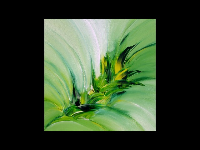 Green Explosion, abstract painting, Acrylic