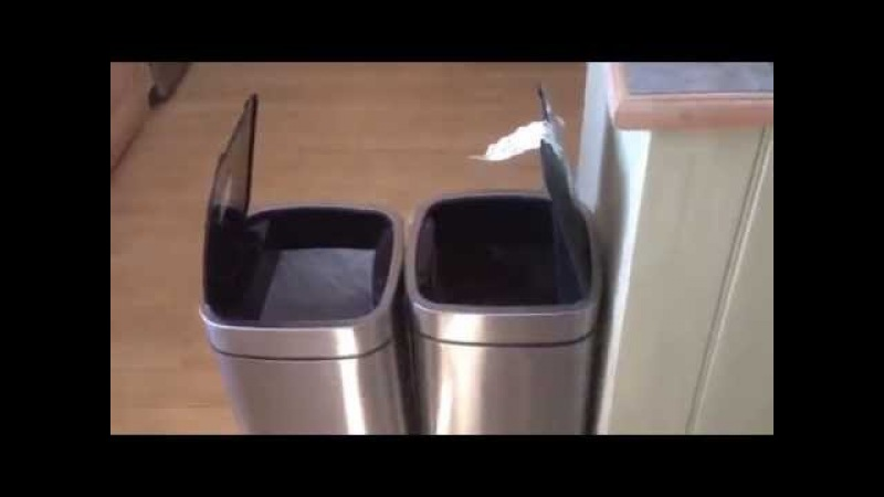 Dad laughing at talking robot bins