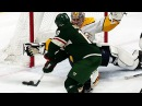 Pekka Rinne dives and flails to rob the Wild