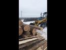 Погрузка леса кругляка на эстакаду трактором МТЗ 82 с куном-АВС Лесторг