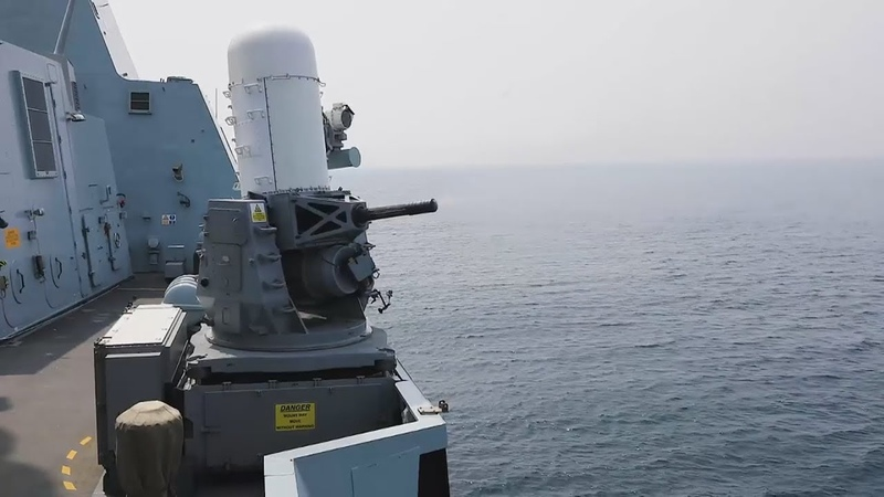 HMS DEFENDER Fires PHALANX Close-In Weapon System (CIWS)