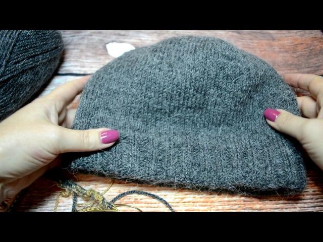 МК . Двойная мужская шапка спицами .