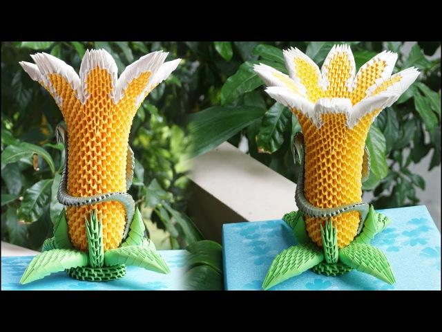 HOW TO MAKE 3D ORIGAMI BRUGMANSIA FLOWER LAMP | DIY PAPER FLOWER LAMP HANDAMDE DECORATION