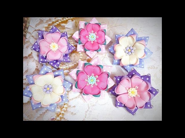 Простые бантики канзаши излент/Kanzashi Flower/DIY Grosgrain Ribbon Flower/Flor de Fita/Ola ameS DIY