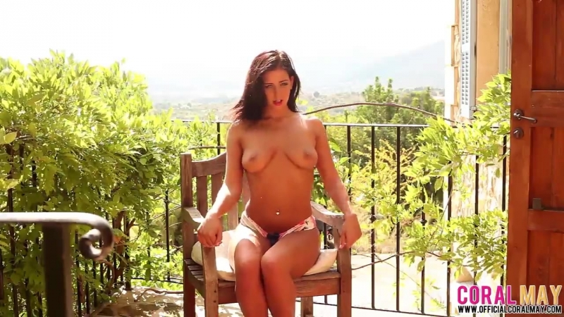 Sexy brunette with natural tits Coral May BTS 44