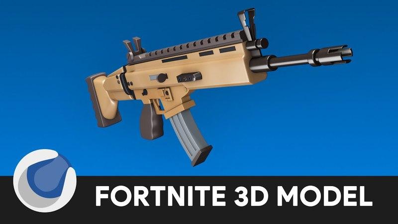 Fortnite SCAR-L 3D Modeling - Cinema 4D Tutorial